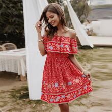 Floral & Tribal Print Off Shoulder Dress