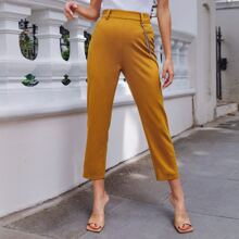 Solid Tailored Pants With Chain