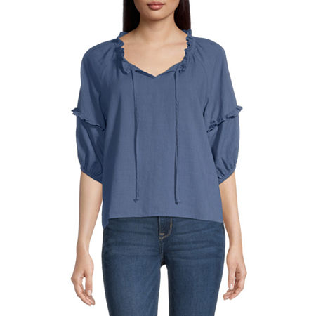 a.n.a Womens Split Tie Neck Elbow Sleeve Peasant Top, Small , Blue