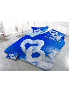 Love Shaped Clouds Wear-resistant Breathable High Quality 60s Cotton 4-Piece 3D Bedding Sets
