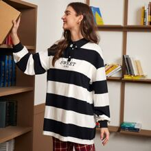 Collared Buttoned Front Letter Embroidery Striped Top