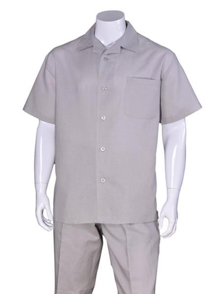 Men's Short Sleeve Linen Plain Gray Casual Walking Suit Pleated Pant