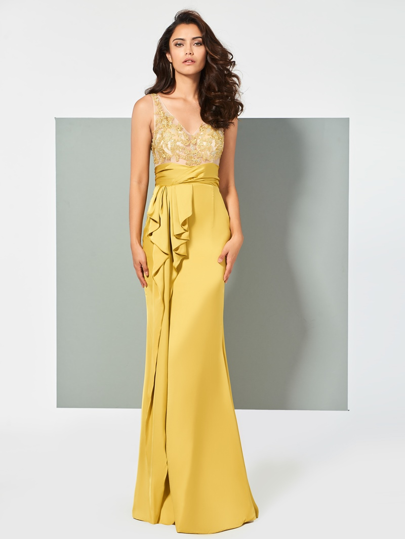 Ericdress Sheath V Neck Applique Mermaid Evening Dress With Deep Back