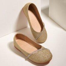 Toddler Girls Allover Glitter Decor Flats