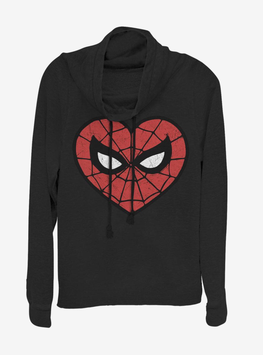 Marvel Spider-Man Spidey Heartbreaker Cowlneck Long-Sleeve Womens Top