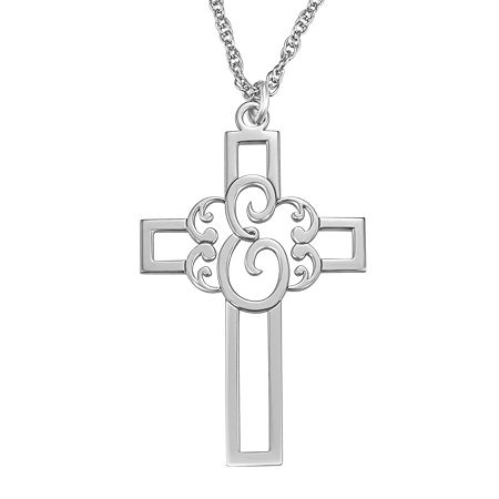 Personalized Initial Cutout Cross Pendant Necklace, One Size , White