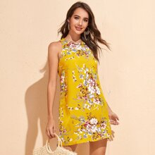 Floral Print Sleeveless Tunic Dress