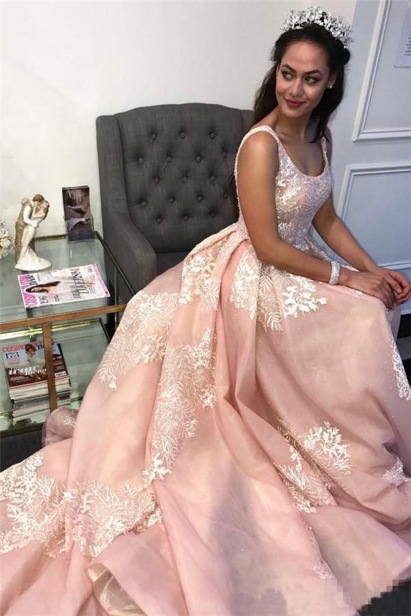 Stunning Pink Applique Straps  Prom Dresses | Ruffle Sleeveless Sexy Evening Dresses