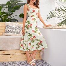 Knot Shoulder Floral Print Cami Dress
