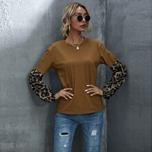 Contrast Leopard Drop Shoulder Tee