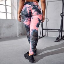 Plus Textured Tie Dye Sports Leggings