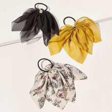 3pcs Ditsy Blumenmuster Bogen Knoten Scrunchie Schal