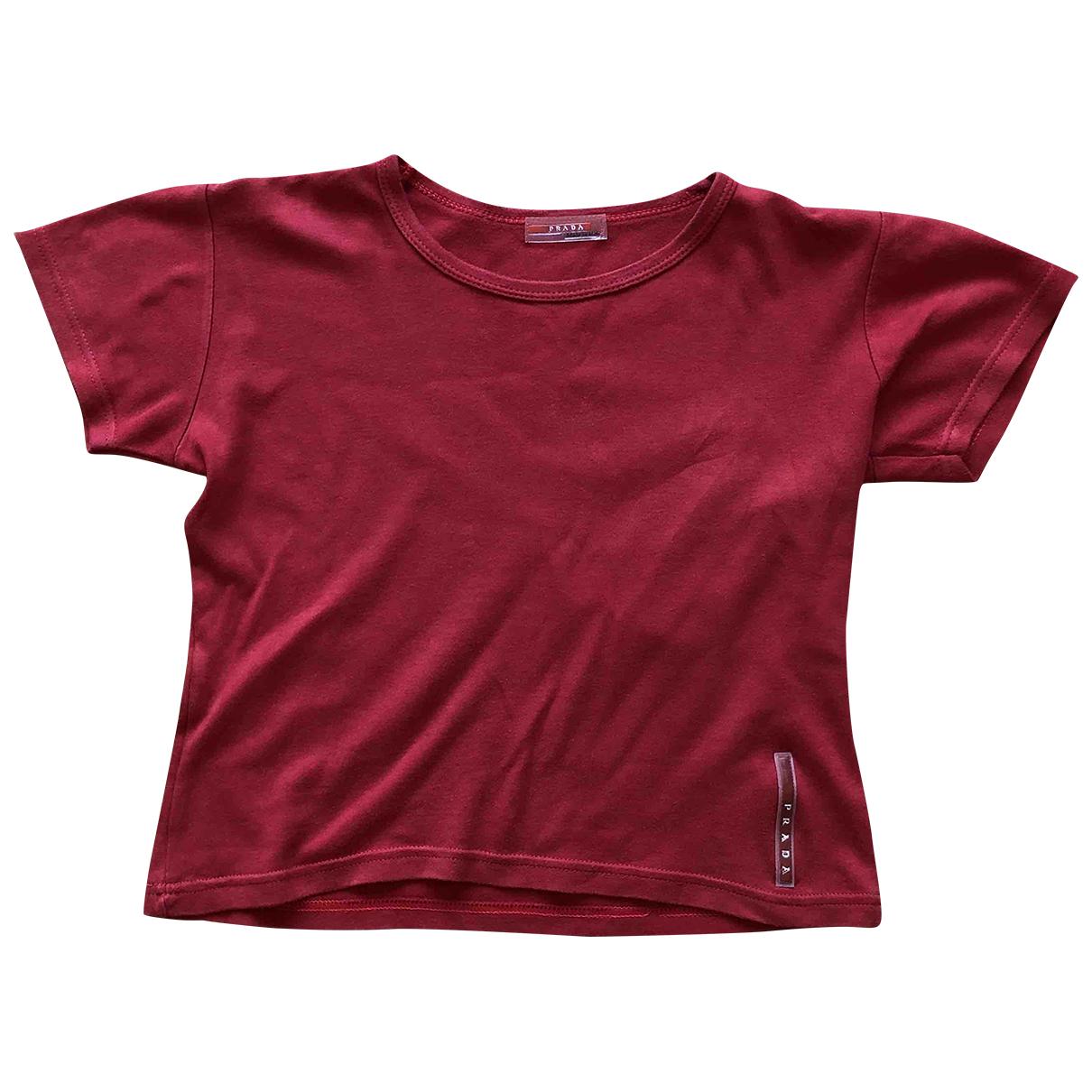 Prada - Top   pour femme en coton - rouge