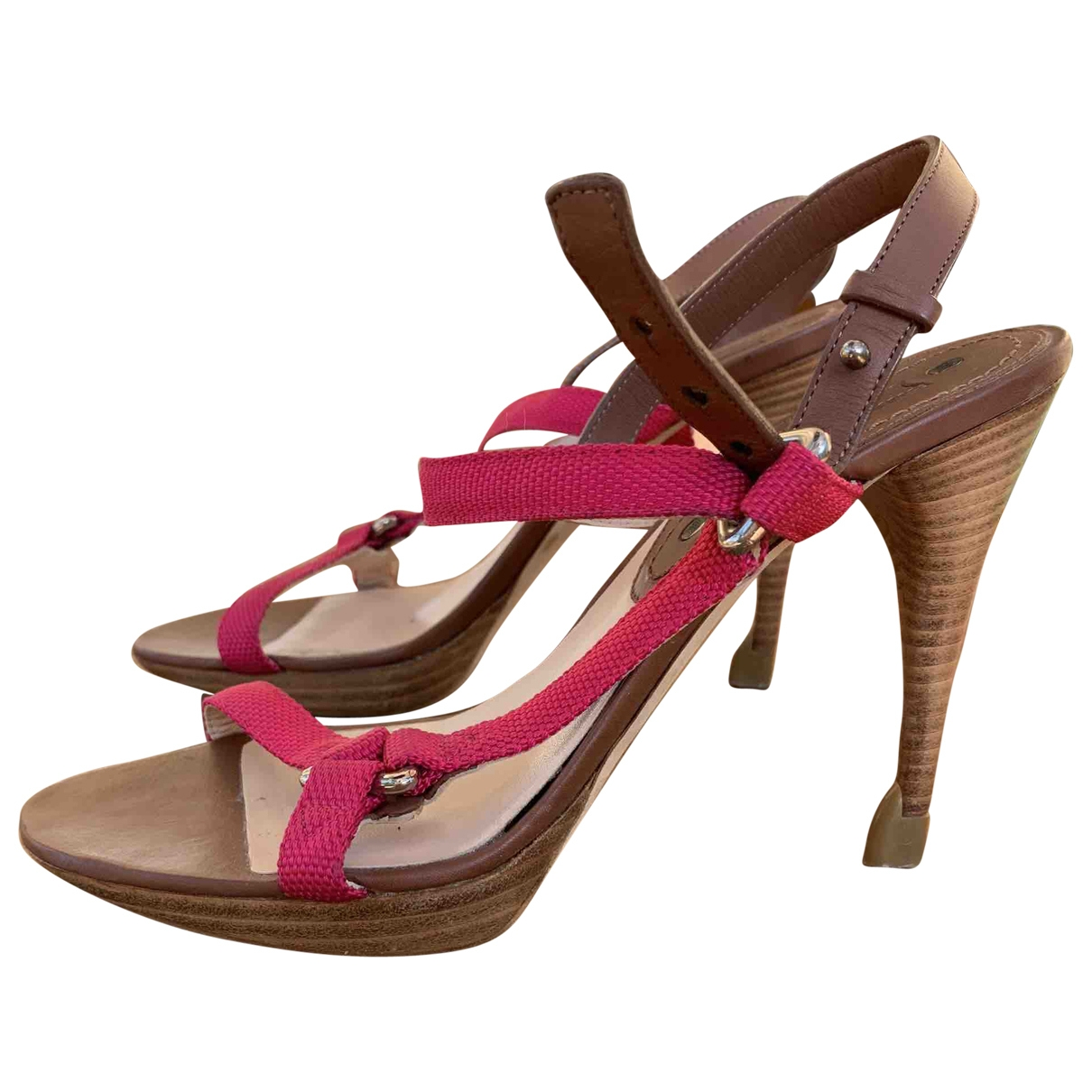 Celine \N Pink Leather Sandals for Women 37.5 EU
