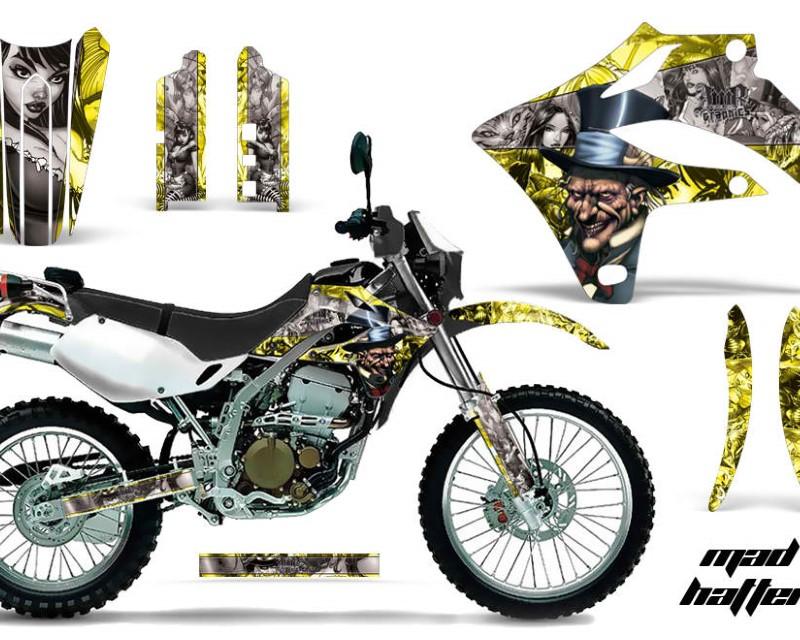 AMR Racing Dirt Bike Graphics Kit MX Decal Wrap For Kawasaki KLX250S 2004-2007�HATTER SILVER YELLOW