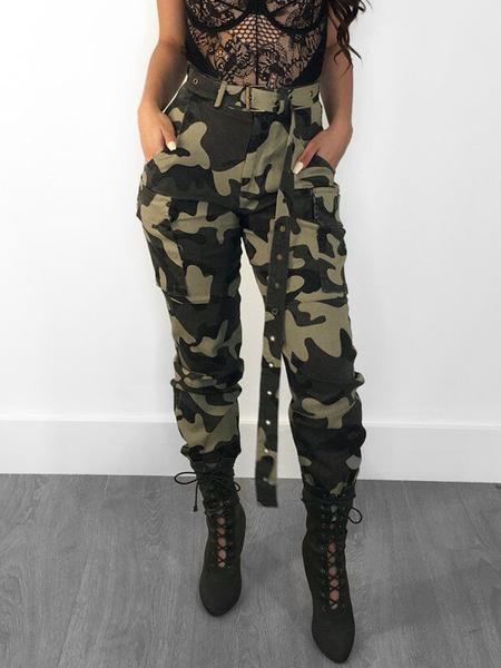 Yoins Side Pockets Camo High-Waisted Pants
