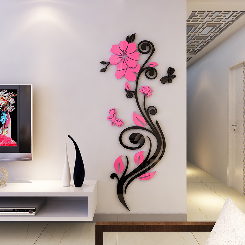 Beautiful Acrylic Flower Shape Home Decorative 3D Wall Stickers