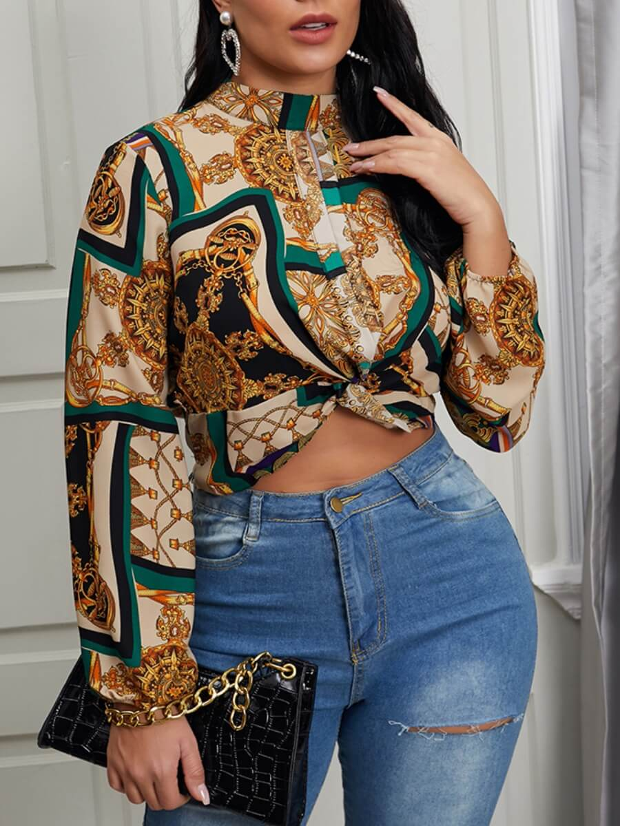 LW Lovely Formal Floral Print Patchwork Coffee Blouse