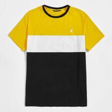 T-Shirt mit Grafik Stickereien und Farbblock