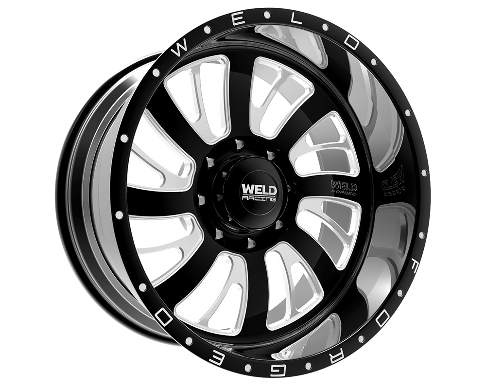 Weld Racing 81B2-24256-517R XT Falkata 24x12 5x5.5 -51mm Black Gloss & Contrast Cut Lip w/Rivets
