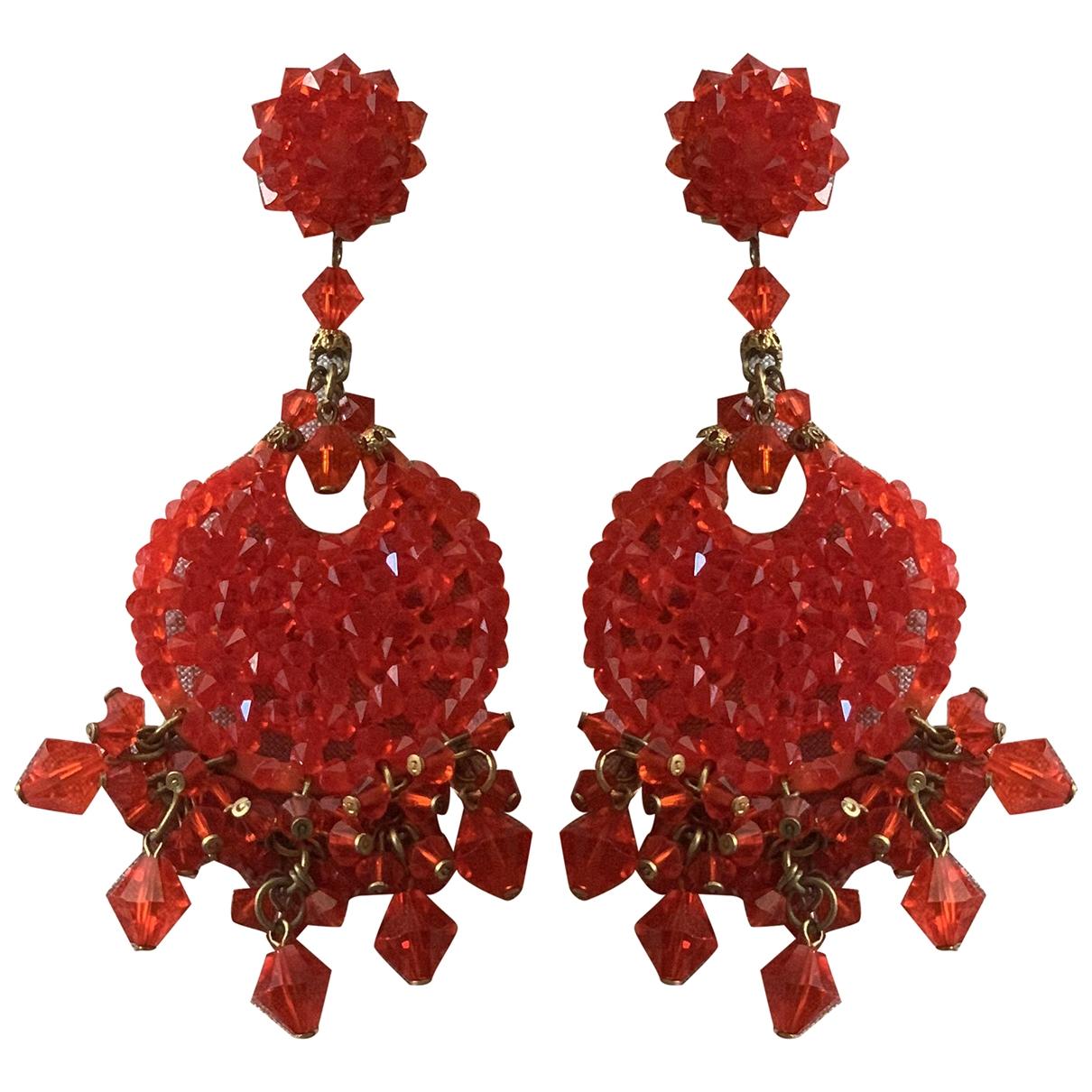 - Boucles doreilles   pour femme en cristal - orange