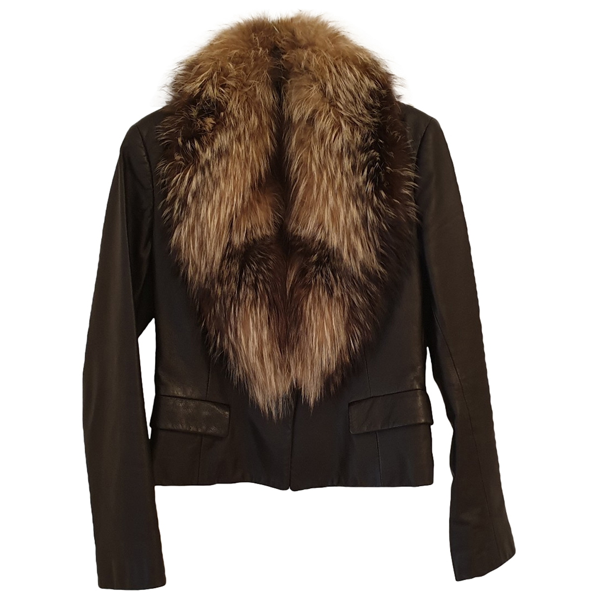 Non Signé / Unsigned \N Brown Leather jacket for Women 42 IT