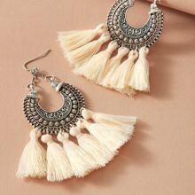 1pair Tassel Decor Drop Earrings
