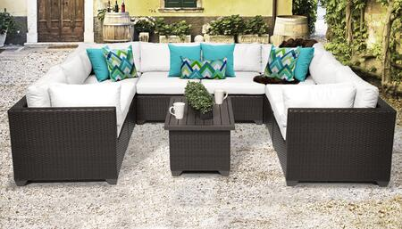 BELLE-09a-WHITE Belle 9 Piece Outdoor Wicker Patio Furniture Set 09a with 2 Covers: Wheat and