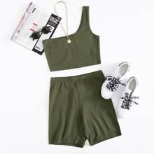 One Shoulder Solid Crop Top & Biker Shorts Set