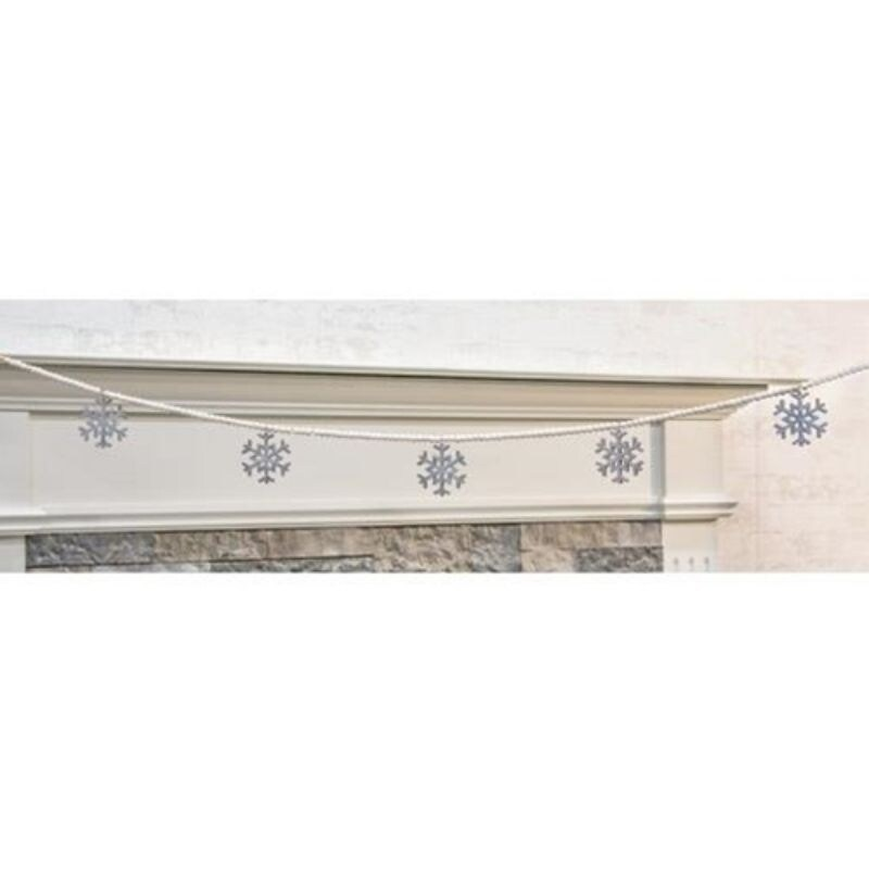 Wooden Snowflake Bead Garland - Off-White (5 Foot)
