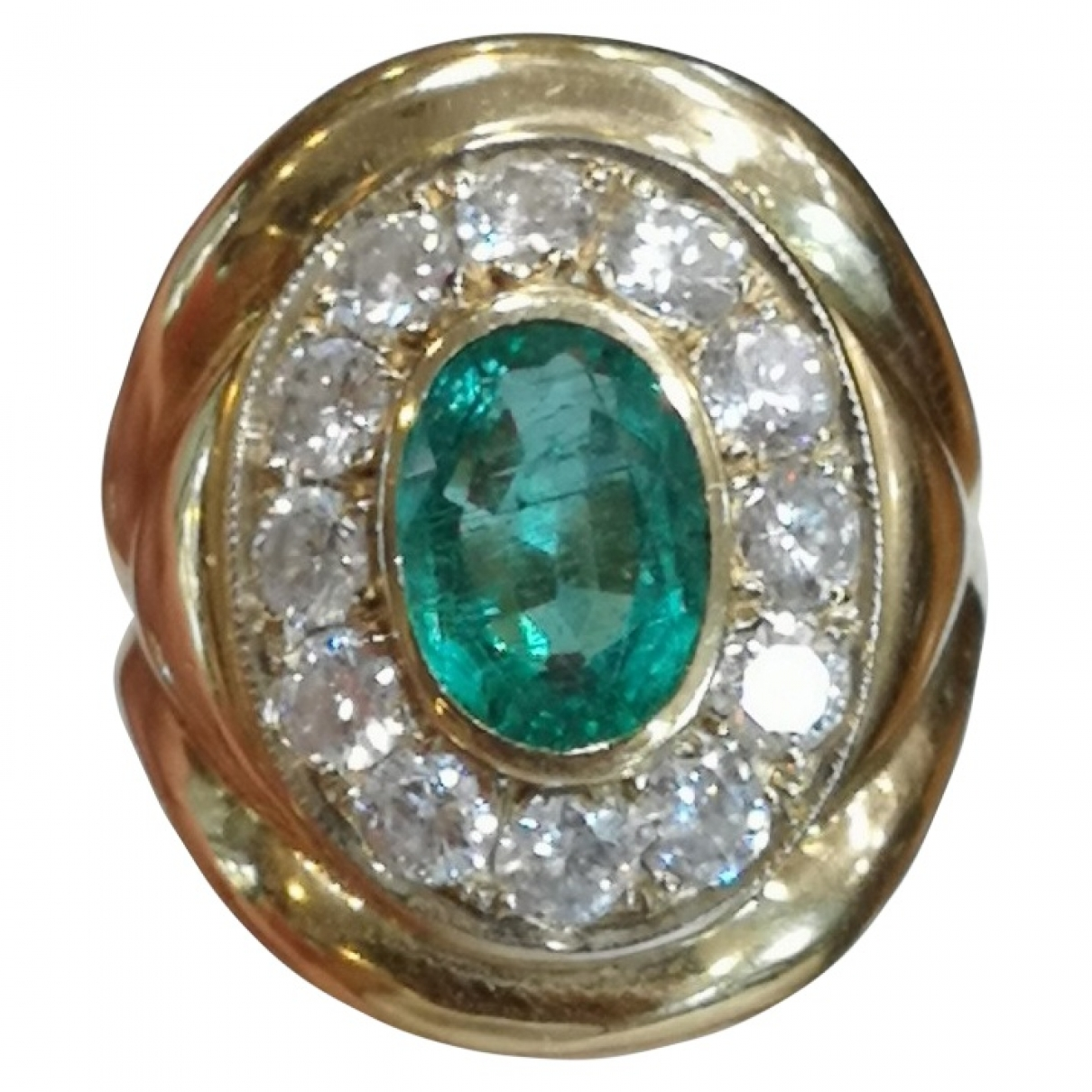 Non Signé / Unsigned Emeraude Green Yellow gold ring for Women 52 MM