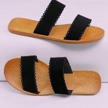 Sandalias planas con doble banda ribete en abanico