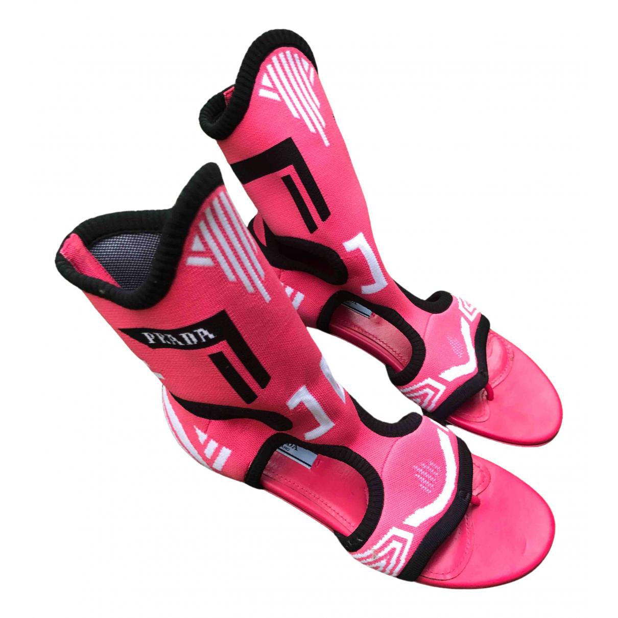 Prada \N Pink Cloth Sandals for Women 37.5 EU