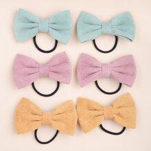 6 piezas goma de pelo de niñitas con lazo