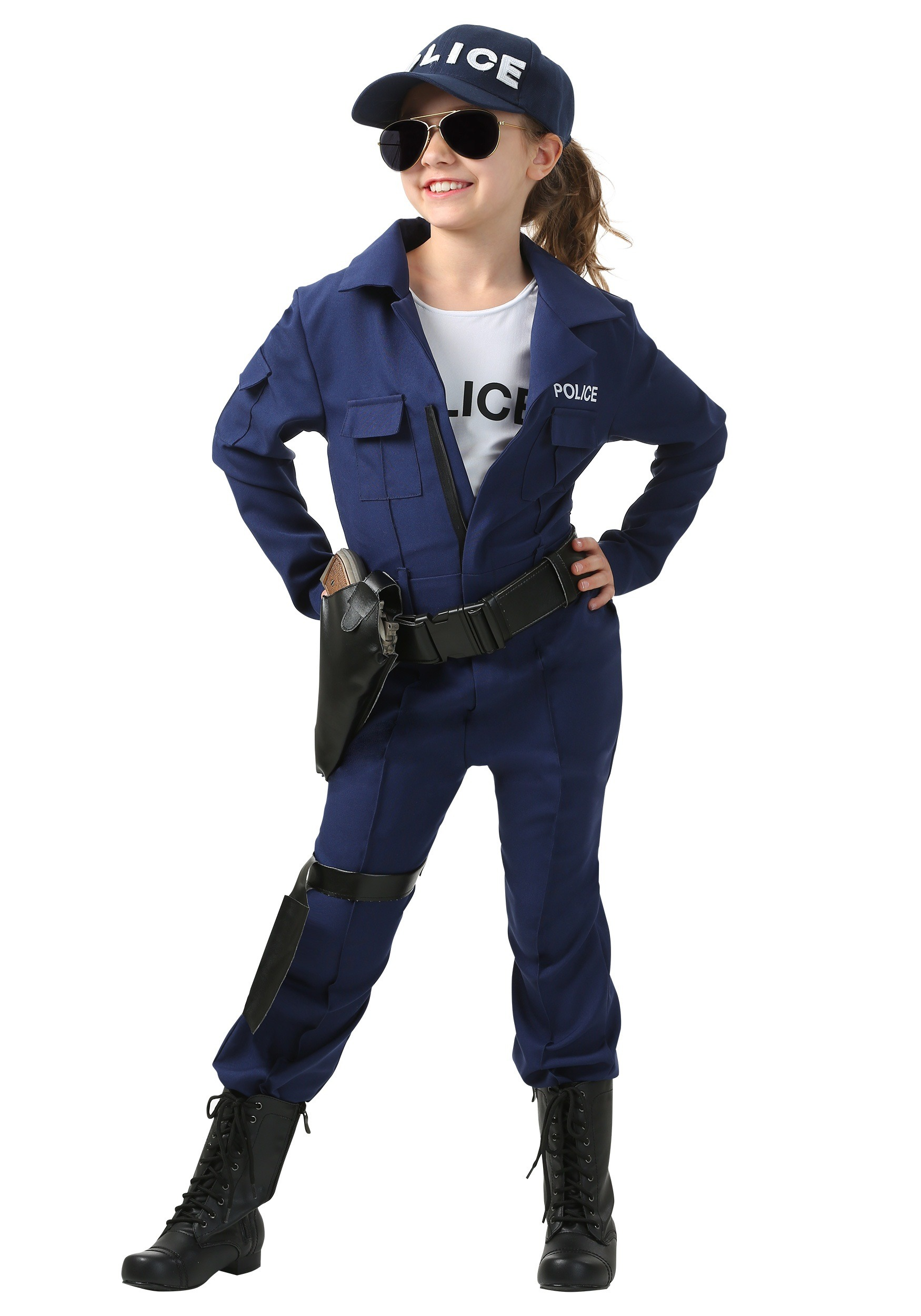 Tactical Cop Jumpsuit Costume for Girls