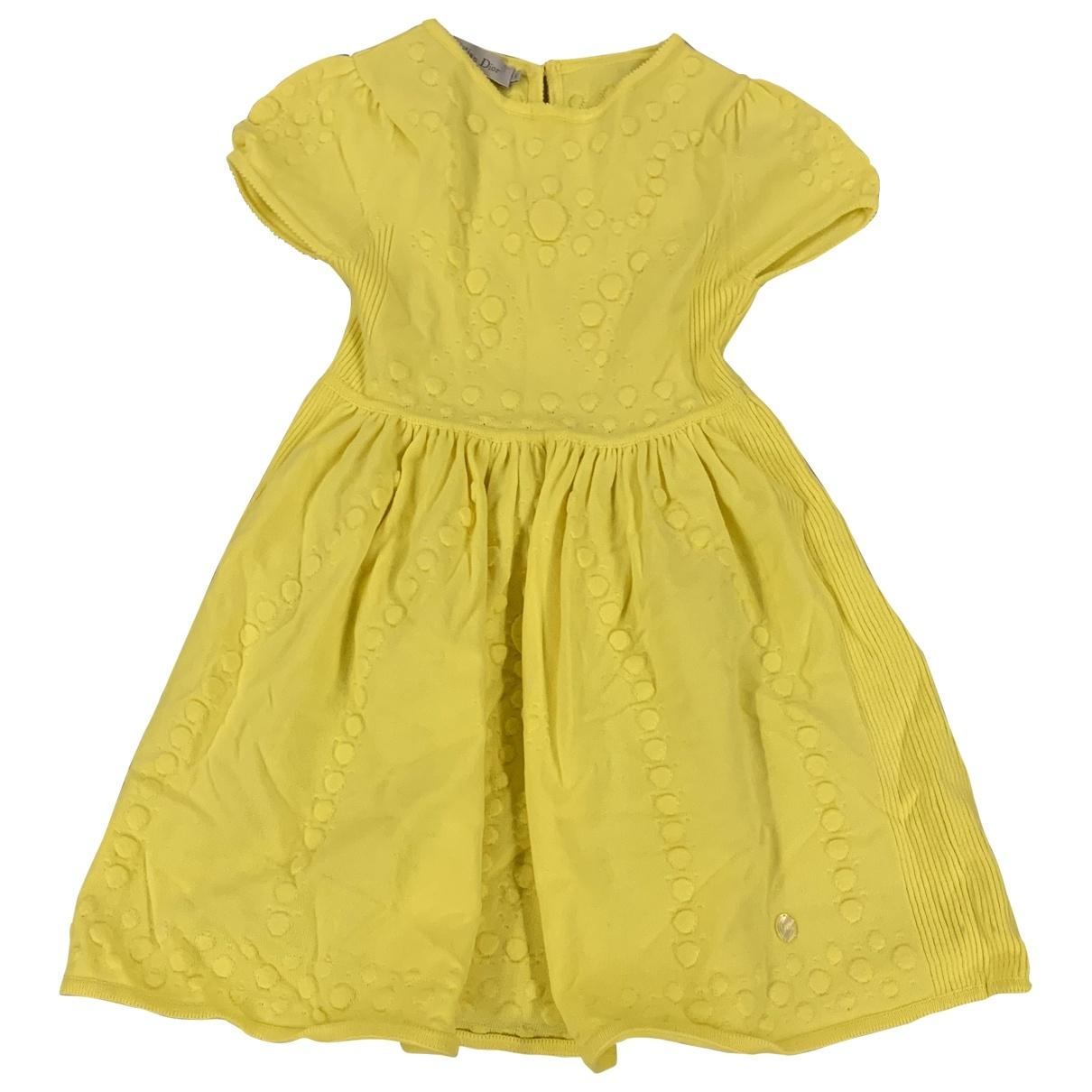 Dior - Robe    pour enfant en coton - jaune