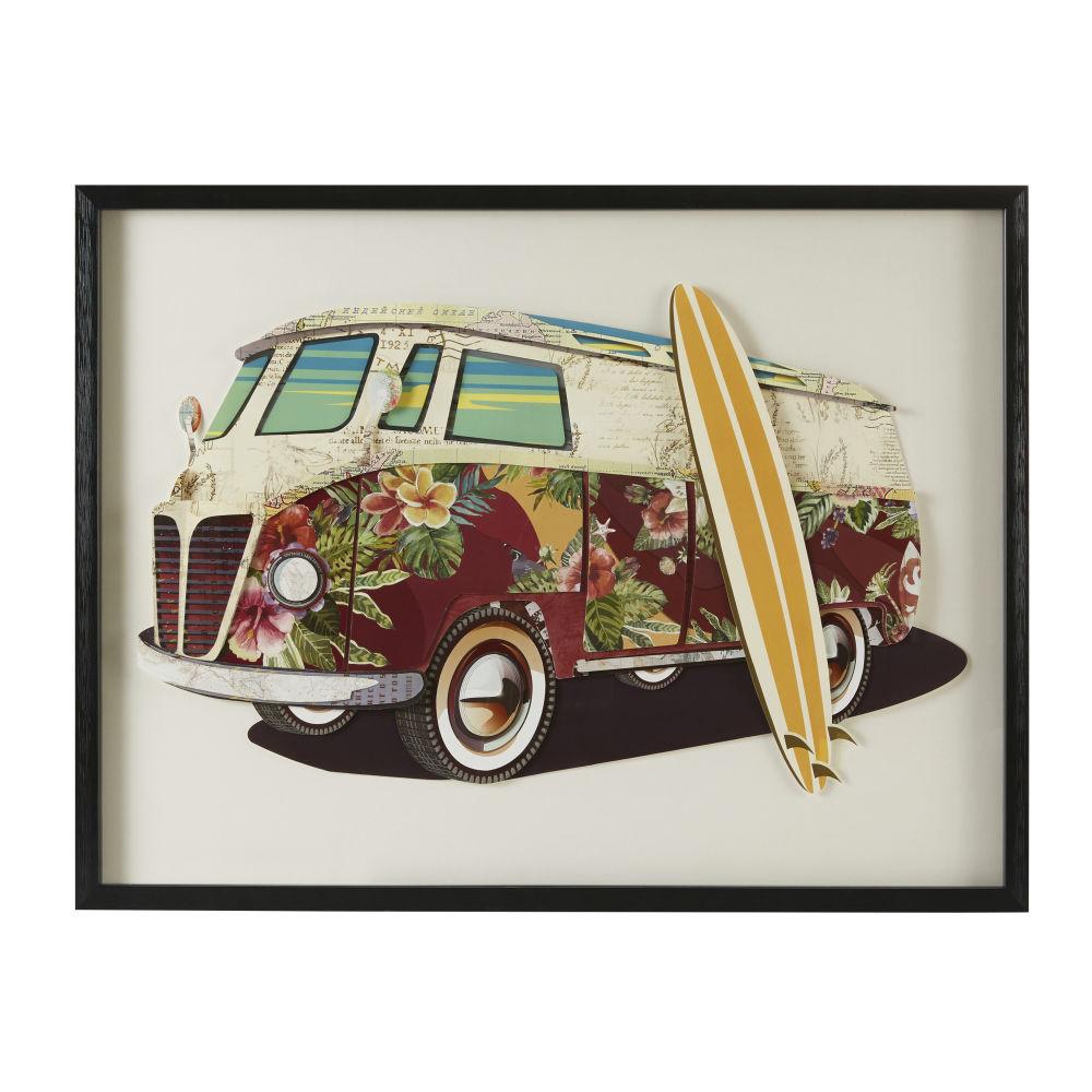 Wanddeko Van aus buntem Papier 80x60