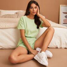 Elastic Hem Tee With Shorts Lounge Set