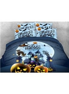 Happy Halloween 3D Printed 4-Piece Polyester Bedding Sets/Duvet Covers