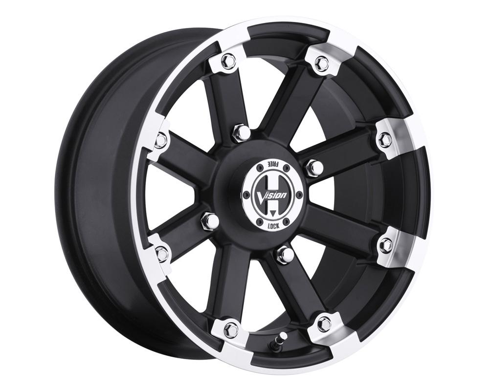 Vision Lockout 393 Matte Black Machined Lip Wheel 12x7 5x114.3 4+3