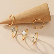 5 piezas anillo con diamante de imitacion