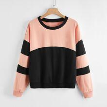 Plus Two Tone Batwing Sleeve Sweatshirt