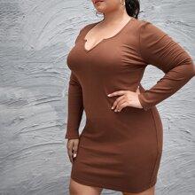 Vestido ajustado tejido de canale de cuello V