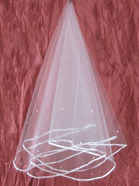 Milanoo White Wedding Veil Tulle One Tier Beaded Ribbon Edge Bridal Veil