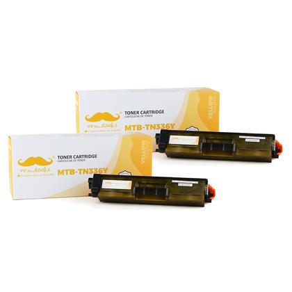 Compatible Brother TN336Y - TN-336 jaune cartouche toner de Moustache, 2 paquet - haut rendement