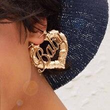 1pair Letter Decor Textured Heart Hoop Earrings