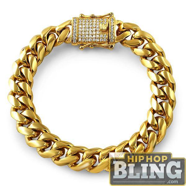 CZ Diamond Lock Gold Steel Cuban Bracelet 12MM