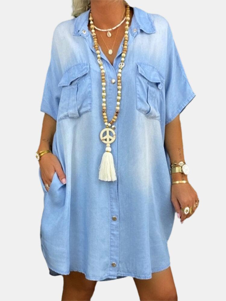 Denim Solid Color Loose Short Sleeve Pockets Casual Dress For Women
