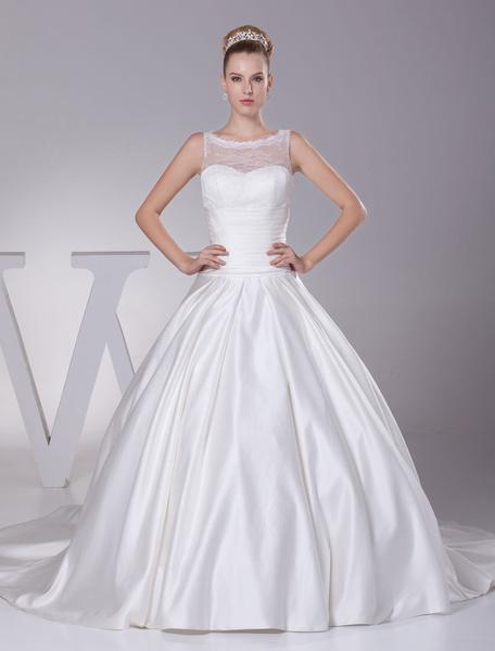 Milanoo Vestido de novia escote en corazon pliegues