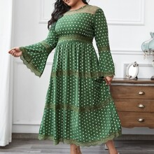 Plus Polka Dot Lace Insert A-line Dress